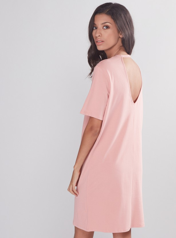 Round Neck Mini Dress with Short Sleeves