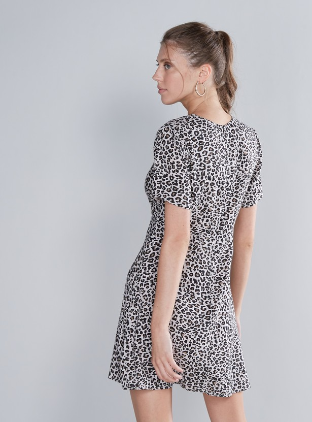 Animal Printed Mini Dress with V-neck and Short Sleeves