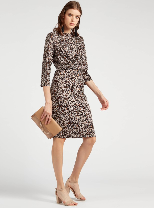 Animal Printed Knee-Length A-line Dress with Front Knot Detail