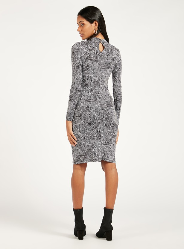 Printed Bodycon Dress with Long Sleeves