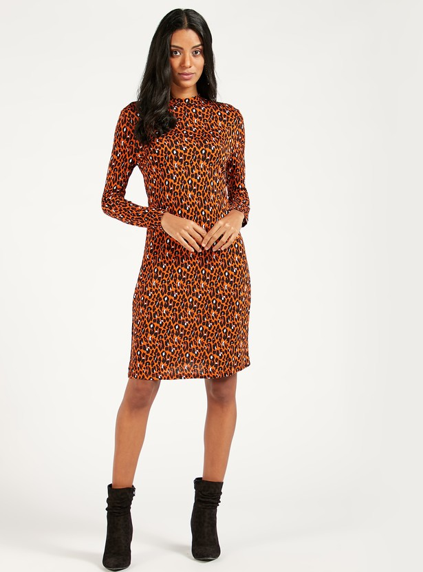 Printed Mini Bodycon Dress with Long Sleeves