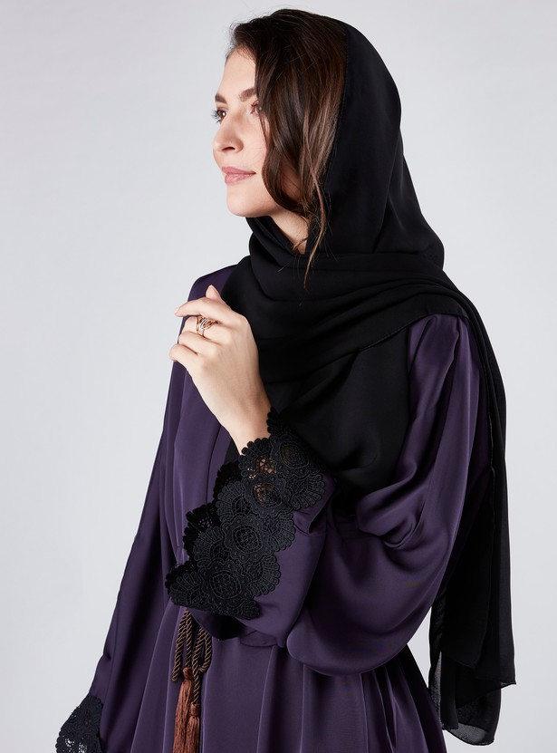 Lace Detail Abaya with Long Sleeves