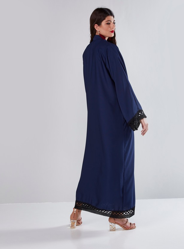 Full Length Abaya with Lace Detail and Button Up Closure