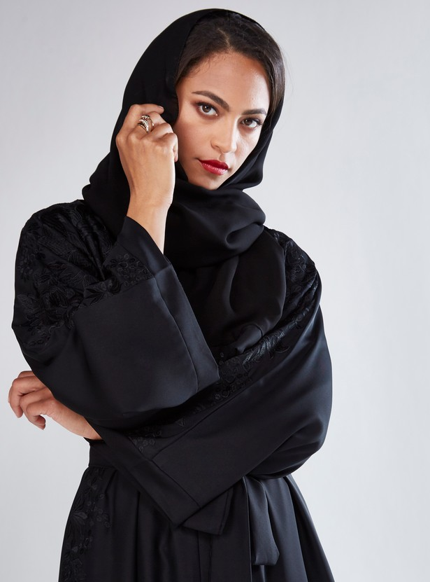 Embroidered Abaya with Flared Sleeves and Tie Up Belt