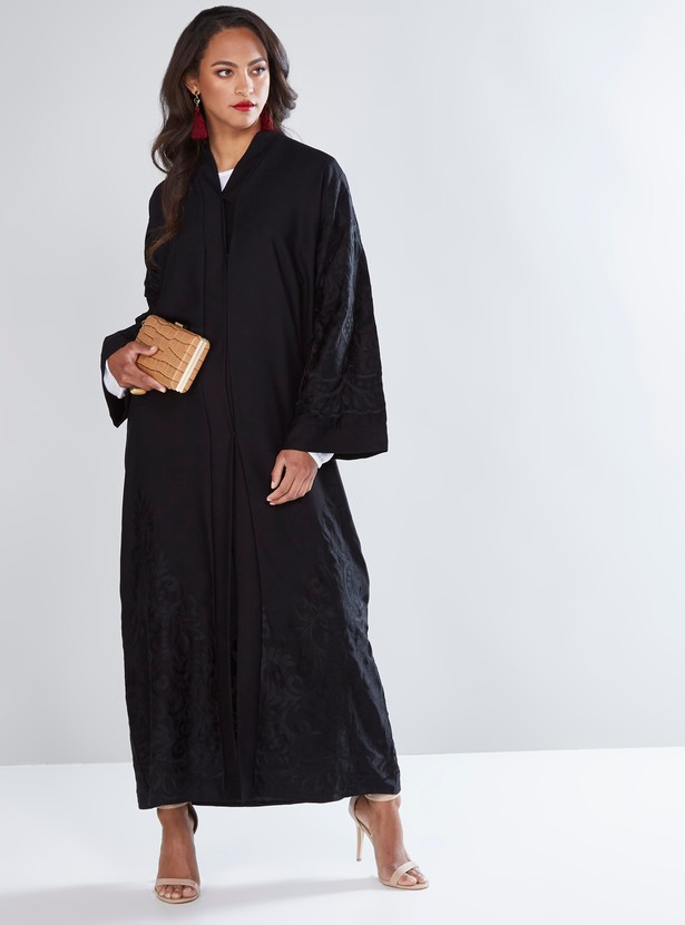 Embroidered Full Length Abaya with Front Button Up Closure