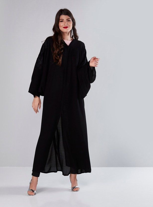 Embroidered V-Neck Full Length Abaya with Front Button Up Closure