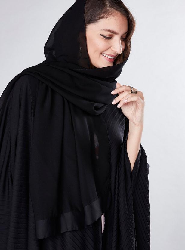 Pleated Farasha Cut Abaya with Button Closure