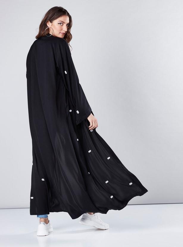 Pearl Detail Abaya with Long Flared Sleeves