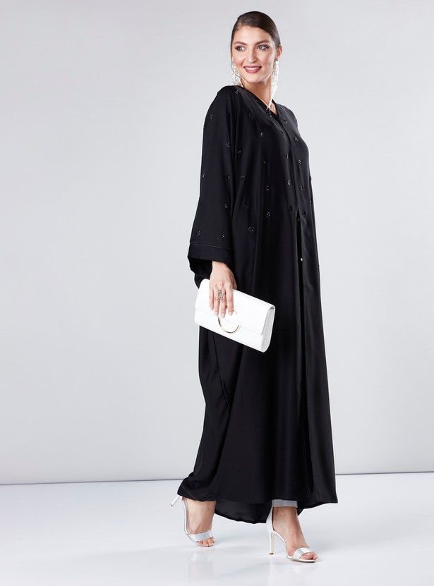 Embellished Abaya with Long Flared Sleeves