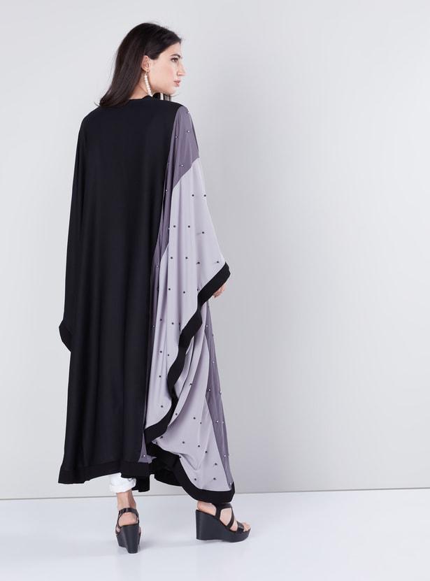 Pearl Detail Kaftan Abaya with Long Sleeves and Colour Blocking