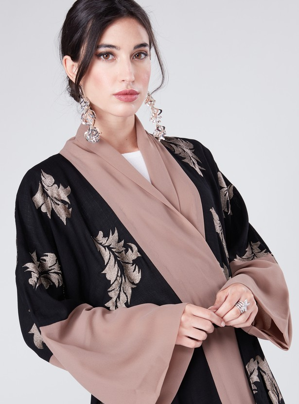 Embroidered Wrap Abaya with Long Sleeves and Tie-Up Belt
