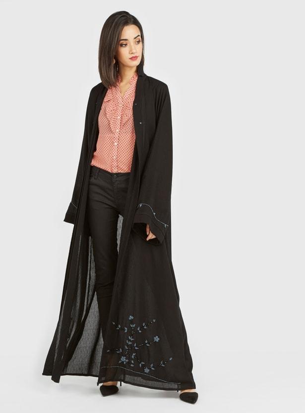 Floral Embellished Abaya with Long Sleeves