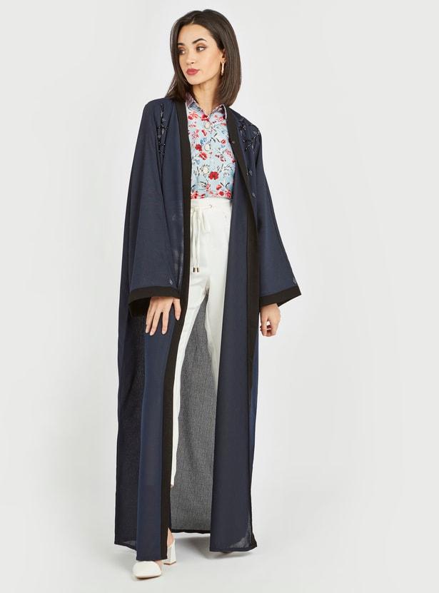 Embellished Abaya with V-neck and Long Sleeves