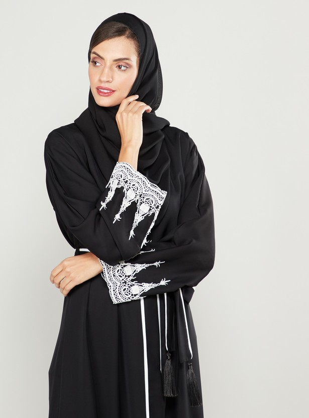 Lace Detail Abaya with Front Knot Styling