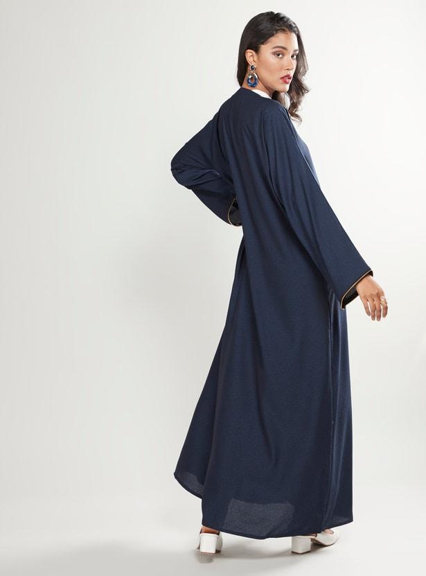 Plain Abaya with Long Sleeves and Zip Closure
