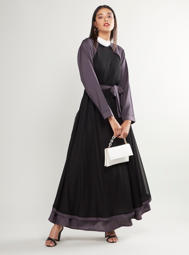 Colourblock Abaya with Raglan Sleeves and Tie Ups