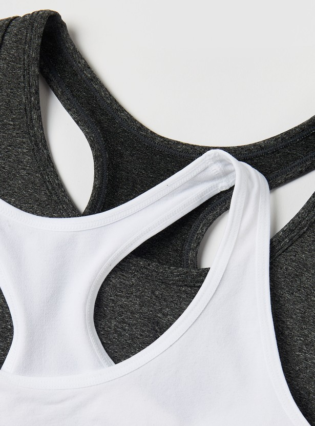 صدرية رياضية دون خياطة بظهر ريسر وشريطة مطاطية - طقم من قطعتين