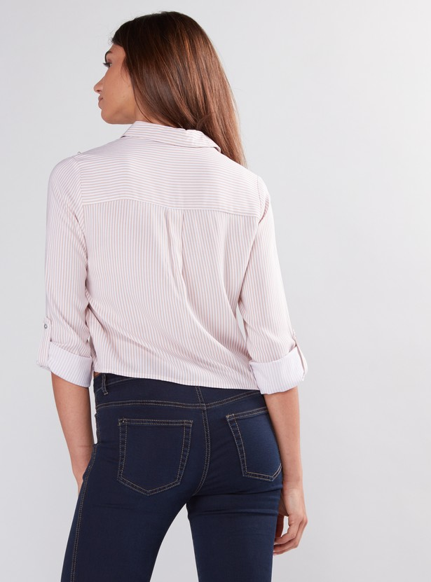 Pearl Detail Top with Long Sleeves and Tie Up
