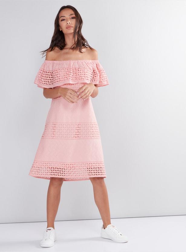 Off Shoulder Midi Dress with Cutwork Detail