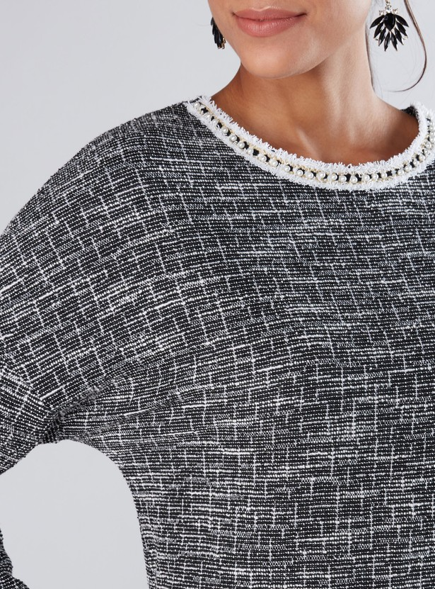 Textured Top with Drop Shoulder Sleeves and Pearl Detail