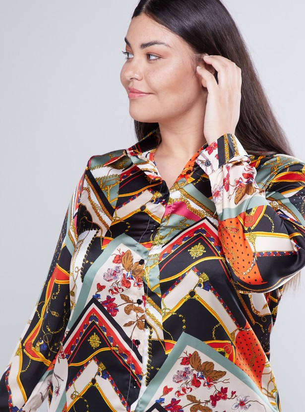 Printed Shirt with Spread Collar and Long Sleeves