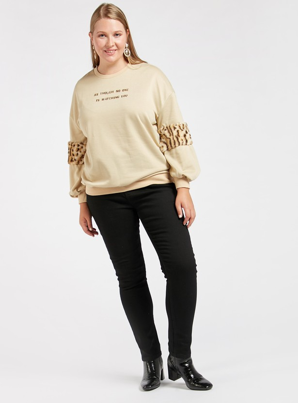Printed Sweatshirt with Animal Printed Plush Detail Long Sleeves