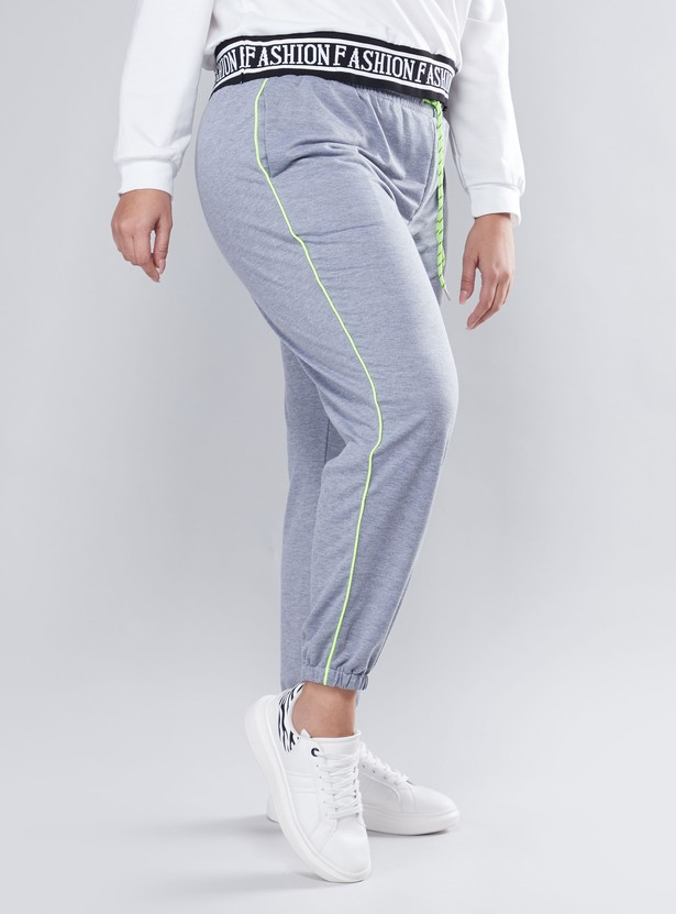 Plain Mid Waist Jog Pants with Elasticised Waistband and Pocket Detail