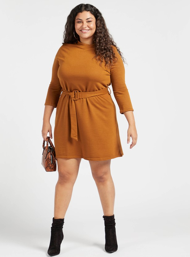 Plain A-line Dress with 3/4 Sleeves and Belt