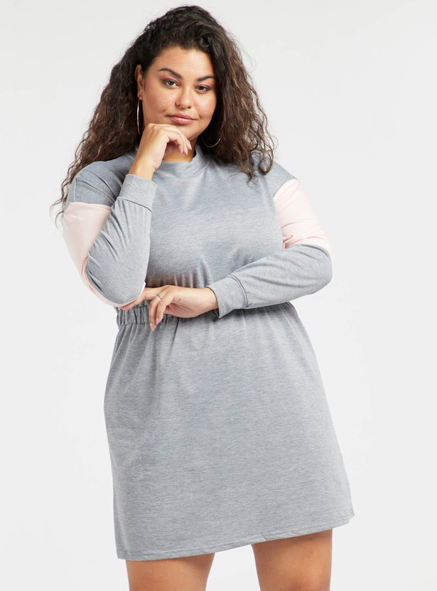 Colour Block Mini A-line Sweater Dress with Long Sleeves