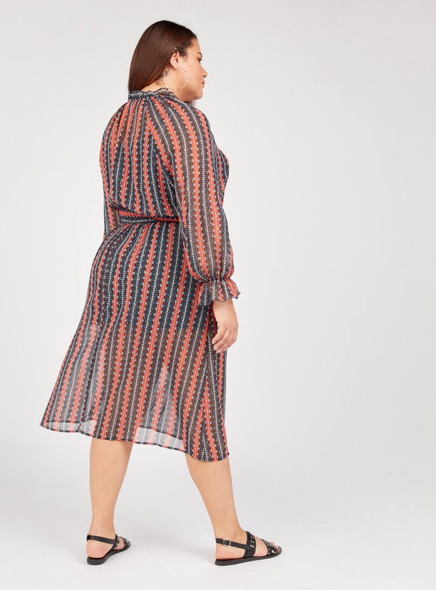 Striped Midi A-line Dress with Long Sleeves and Smocking Detail