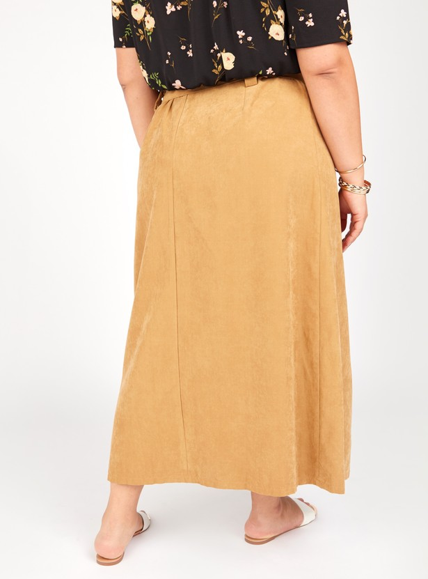 Plain Maxi Wrap Skirt with Belt and Button Detail