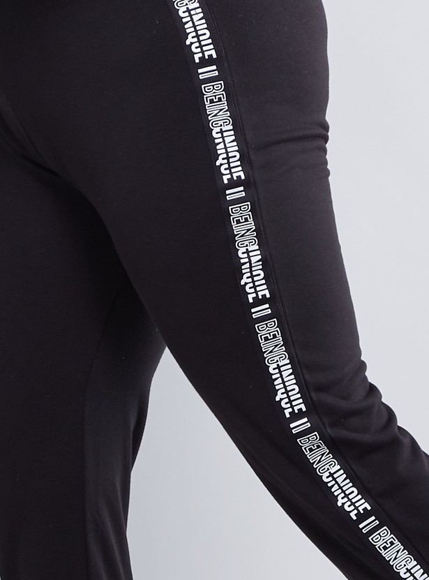 Printed Mid Waist Jog Pants with Elasticised Waistband and Drawstring