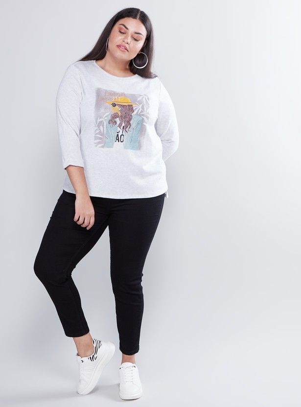 Graphic Printed Round Neck T-shirt with 3/4 Sleeves