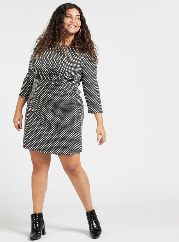 Printed Knee Length Shift Dress with 3/4 Sleeves Sleeves