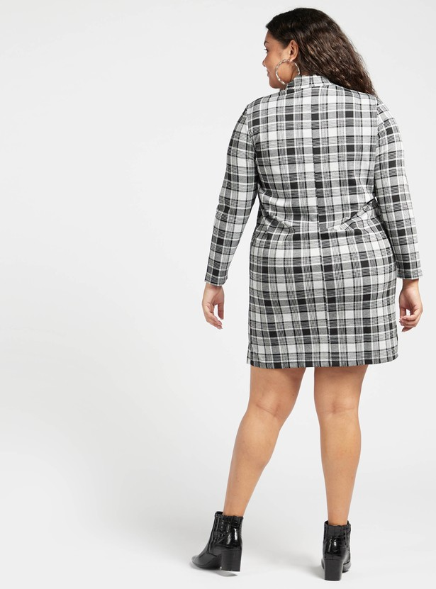 Chequered Midi Dress with High Neck and Long Sleeves