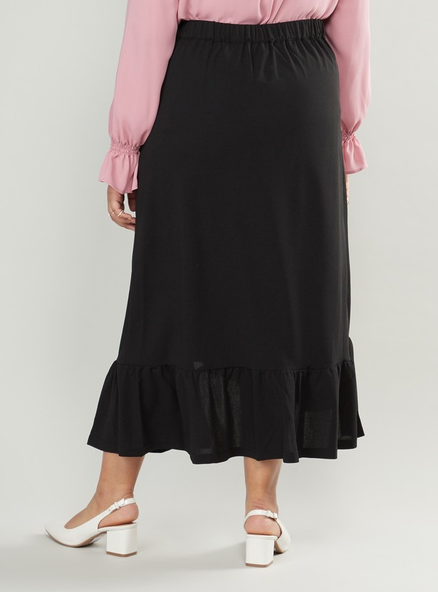 Solid Ruffle Skirt with Button Detail