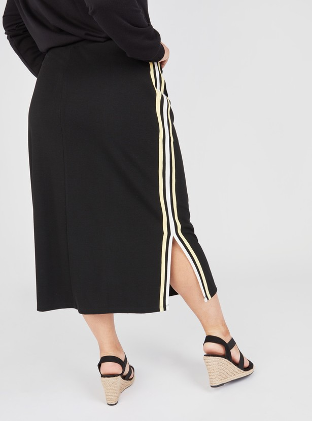 Striped Midi Pencil Skirt with Drawstring and Side Slit