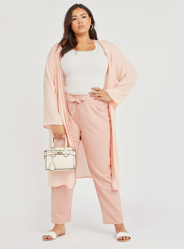 Full Length Solid Pants with Elasticised Waistband and Drawstring