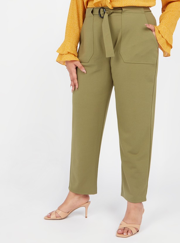 Solid Straight Fit Pants with Front Belt Styling