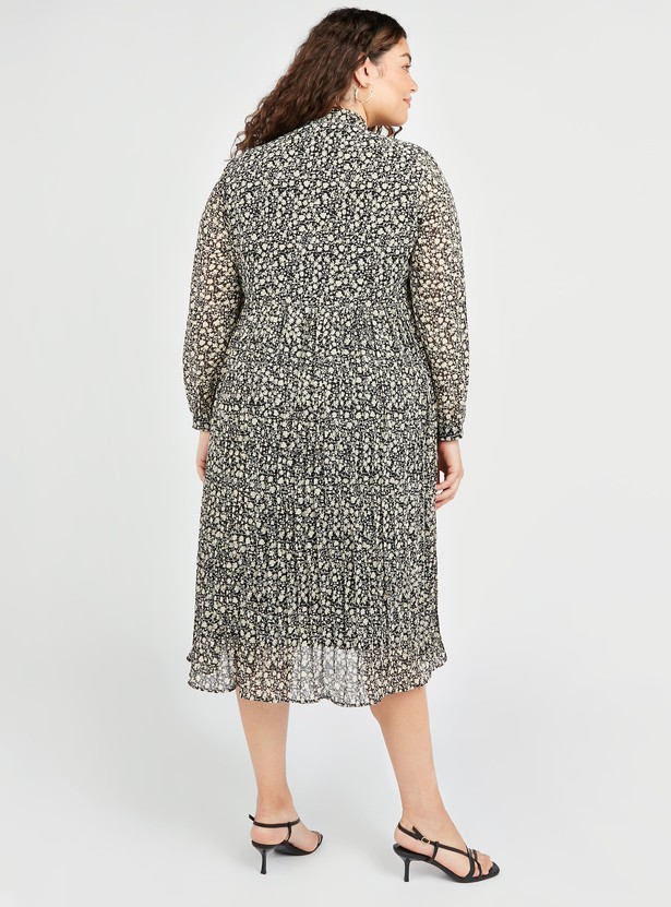 All Over Print A-line Midi Pleated Dress with Pussy Bow