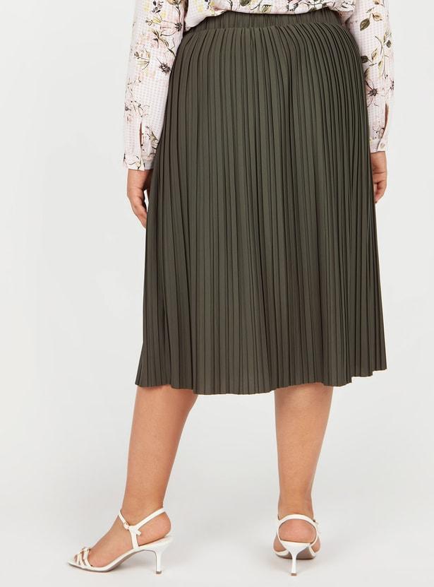 Textured Midi Skirt with Pleats and Elasticised Waistband