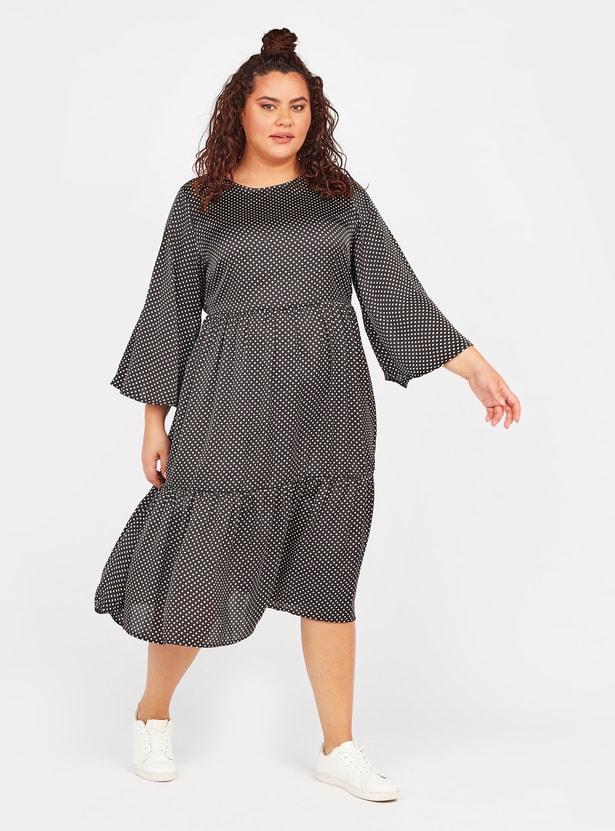 فستان ميدي إيه لاين بياقة مستديرة وأكمام طويلة وطبعات