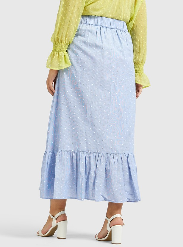 Textured Broderie Anglaise Tiered Maxi Skirt with Button Detail