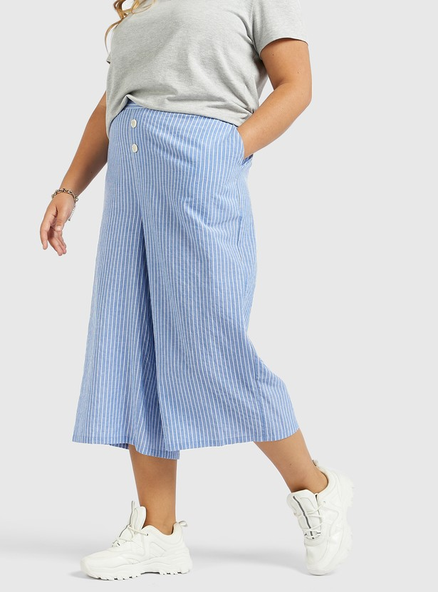 Striped Chambray Culottes with Pockets and Button Detail