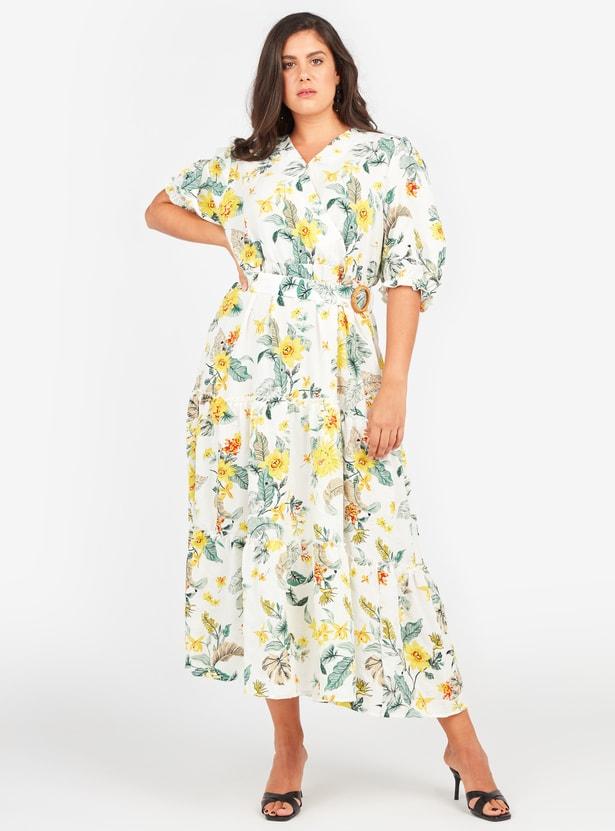 فستان ملفوف طويل ايه لاين بأكمام منتفخة وطبعات أزهار وحزام