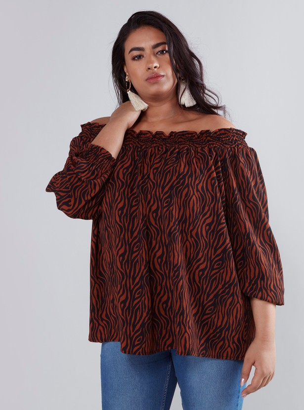 Printed Off Shoulder Ruffled Top with Long Sleeves