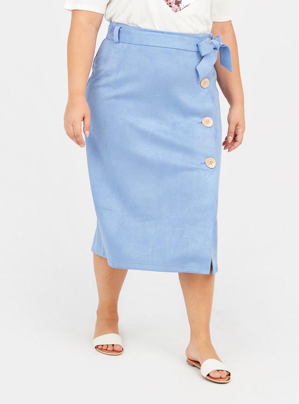 Textured Midi Wrap Skirt with Elasticised Waistband