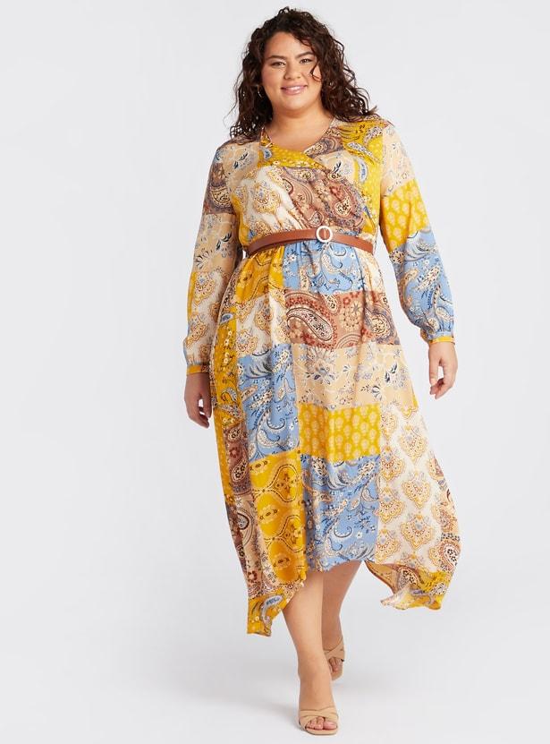 فستان ملفوف متوسط الطول بأكمام طويلة وطبعات وحواف غير متساوية
