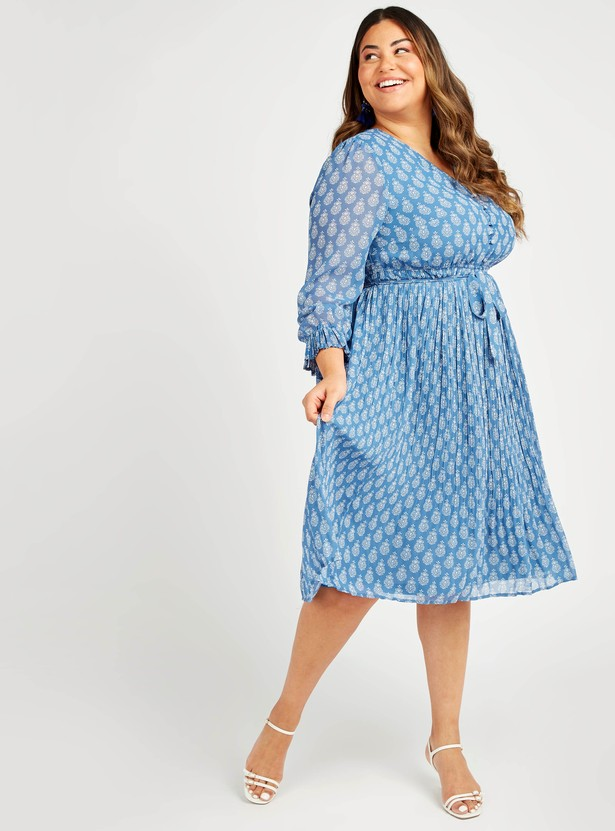 Printed A-Line Midi Dress with Pleat Detail and Long Sleeves