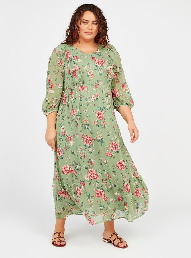 Floral Print A-line Maxi Dress with 3/4 Sleeves